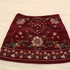 Altar'd State Embroidered Mini Skirt- Dark Red